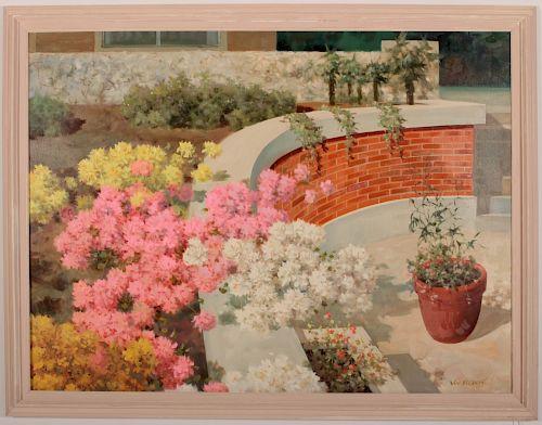 Van Redon, 20th C., Floral Borders, O/C