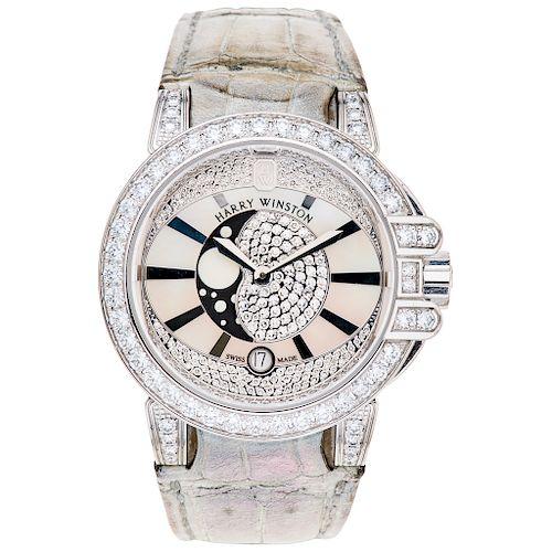 HARRY WINSTON OCEAN MOON PHASE REF. 400/UGMP36W. Wristwatch.