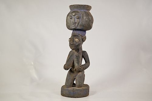 Yoruba Kneeling Female Bowl Figure 18""