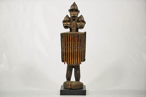 "3-Headed Bakongo Figural Instrument on Base 27.5"""