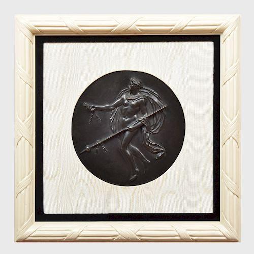 Wedgwood Black Basalt Circular Plaque of a Female Dancer