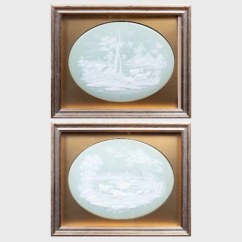 Pair of Pâte-Sur-Pâte Oval Plaques