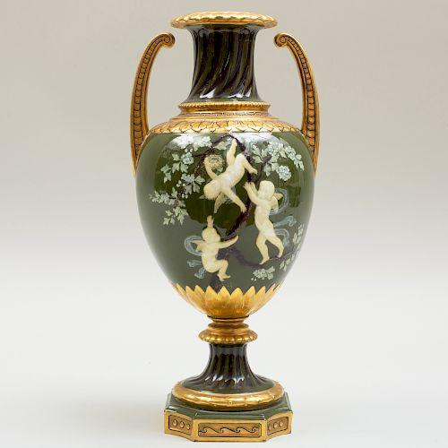 Moore Brothers Pâte-Sur-Pâte Two Handled Vase