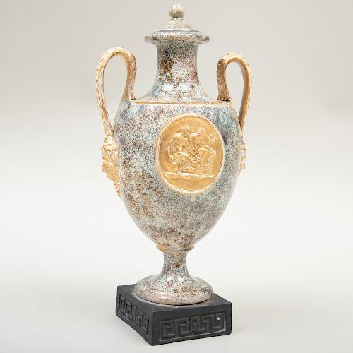 Wedgwood & Bentley Creamware Two Handle 'Porphyry' Vase and Cover
