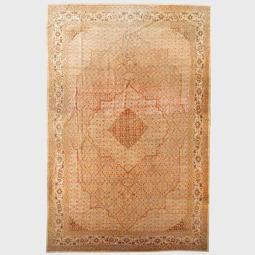 Fine and Large Persian Tabriz Central Medallion Carpet