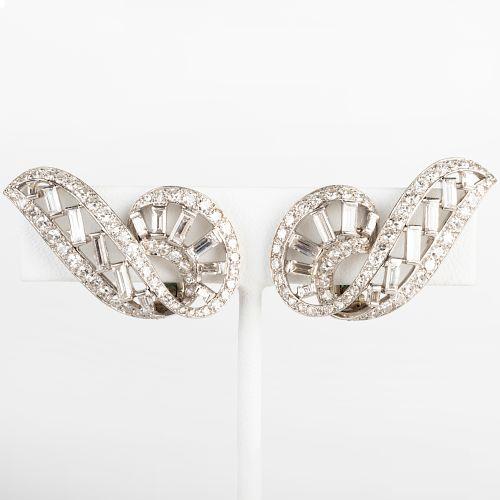 Vintage Cartier Platinum and Diamond Earclips, Paris