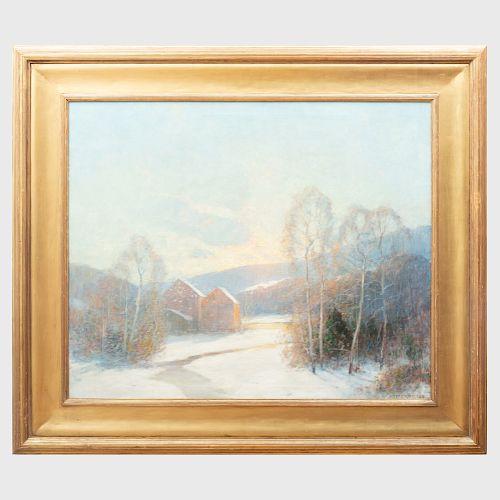 Ernest Albert  (1857-1946): Snow Scene with Red Barn