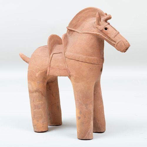 Large Japanese Haniwa Figure of a Horse, Late Kofun Period