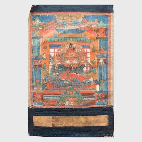Tibetan Thangka Depicting Nartakarakta Vaishravana