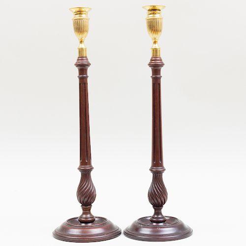 Pair of Tall English Mahogany and Brass Candlesticks