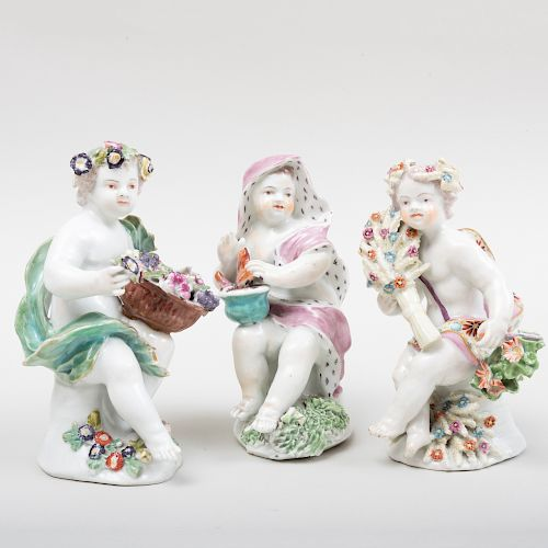 Group of Three English Porcelain Putti Allegorical of the Seasons, Probably Bow