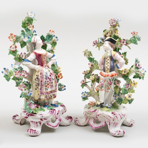 Pair of Bow Porcelain Bocage Figures of Dutch Dancers