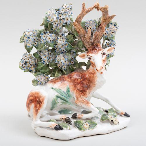Derby Porcelain Bocage Figure of a Recumbent Stag