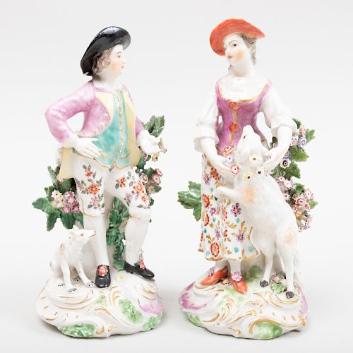 English Porcelain Figure of a Shepherdess and a Figure of a Shepherd, Probably Derby