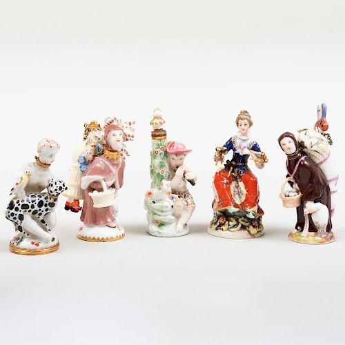 Two Chelsea Porcelain, a Meissen Porcelain, and Two English Porcelain Scent Bottles