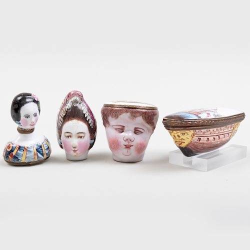 Group of Four Enamel Snuff Boxes