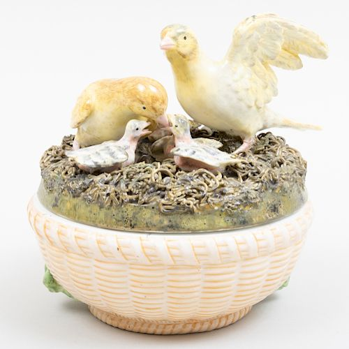 English Porcelain Nesting Birds Box and Cover