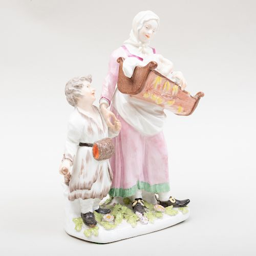 Samson Porcelain Figure Group of a Mother and Children