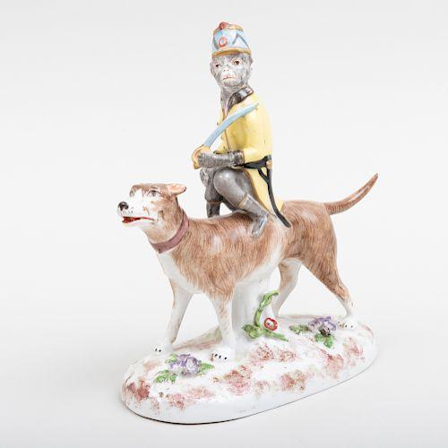 Paris Porcelain Figure of a Monkey Riding a Dog