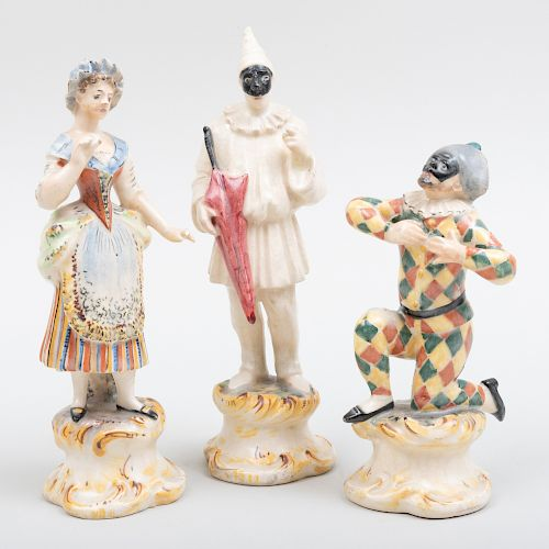 Two Continental Pottery Figures of Harlequins and a Figure of Maiden, Probably Cozzi