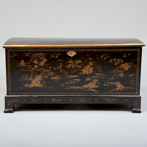 Chinese Export Black Lacquer and Parcel-Gilt Chest on Stand