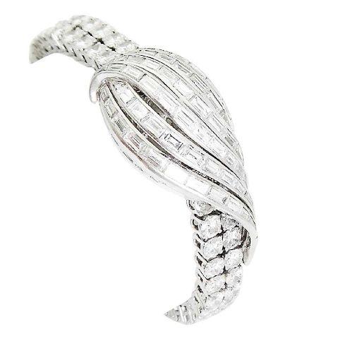 Jaeger LeCoultre Lady's Platinum Round & Baguette Watch