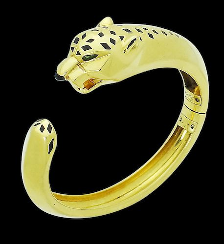 Cartier 18K Yellow Gold Emerald Panther Bracelet