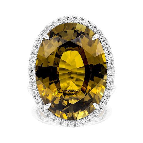 24.63CT Alexandrite Ring Paltinum Setting Size 6 1/2