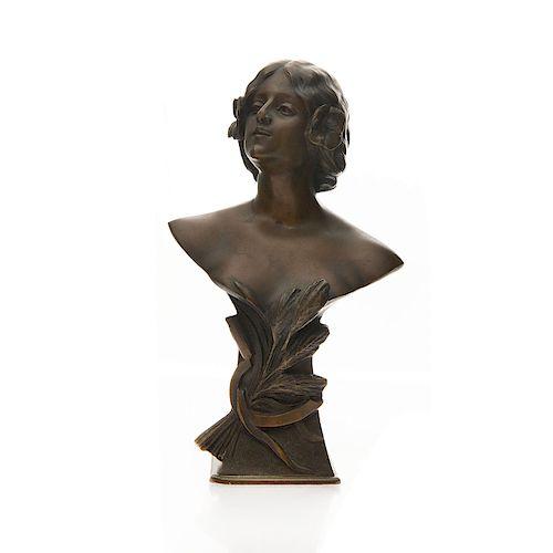 ALFREDO NERI, ART NOUVEAU BRONZE BUST OF WOMAN