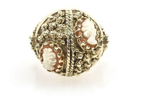 ffc9c4557 Domed Vintage Style 14k Gold & Cameo Ring by Ahlers & Ogletree ...