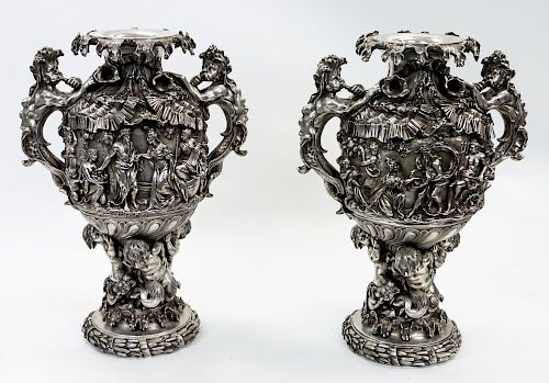 A PAIR OF MONUMENTAL FRENCH MIDCENTURY STERLING SILVER VASES