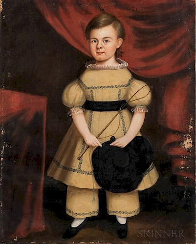 Attributed to Samuel P. Howes (Massachusetts, 1806-1881)  Portrait of a Boy in a Yellow Dress Holding a Hat and Riding Crop