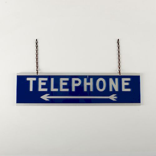 ANTIQUE 2 SIDED, 2 HOOK TELEPHONE ARROW SIGN