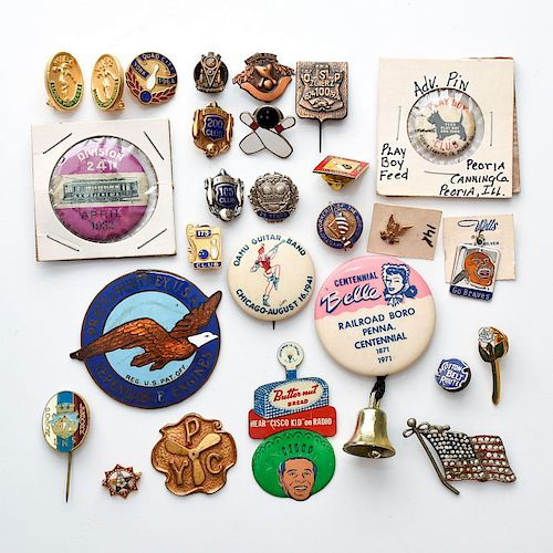 27 COMMEMORATIVE ADVERTISING COINS, MEDALS, BUTTONS