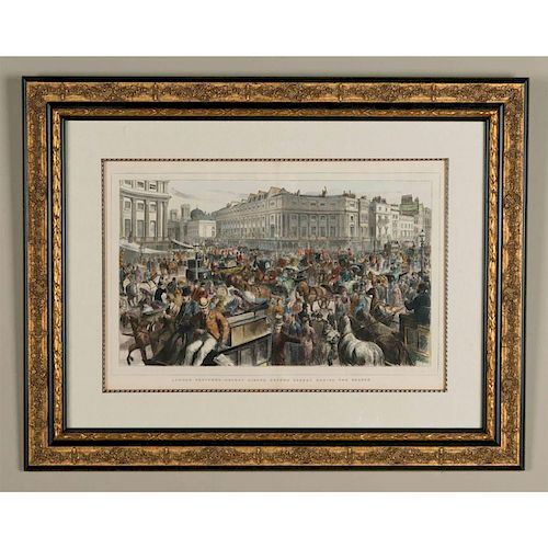 VICTORIAN ENGRAVED PRINT, LONDON SKETCHES REGENT CIRCUS