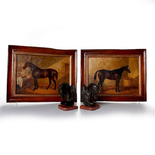 2 OIL ON LINEN PAINTINGS, HORSES; BOOKENDS, HORSE HEADS