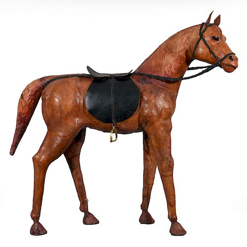 """WOODEN, LEATHER WRAPPED 52"""" TALL HORSE STATUE"""