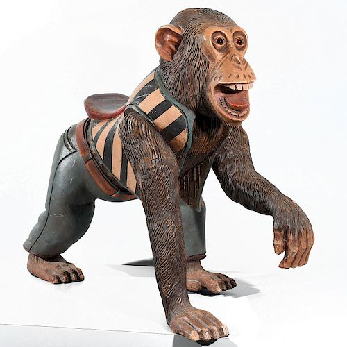 RARE CARVED WOODEN CAROUSEL CHIMPANZEE FIGURE