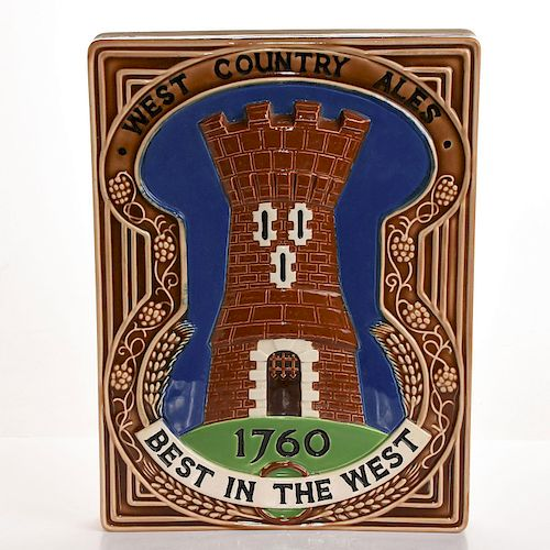 MONUMENTAL CERAMIC ADVERTISING PLAQUE WEST COUNTRY ALES