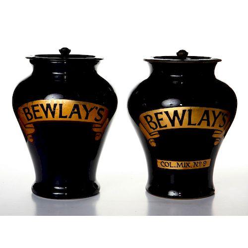 2 ROYAL DOULTON BEWLAY'S TOBACCO ADWARE JARS W. LIDS