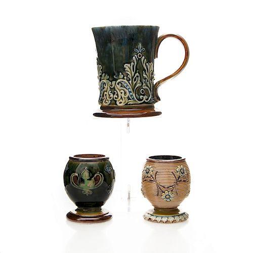 3 DOULTON LAMBETH ART NOUVEAU STONEWARE CUPS, MUG
