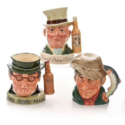 3 ROYAL DOULTON SMALL LIQUOR CONTAINER CHARACTER JUGS