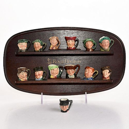 13 ROYAL DOULTON TINY CHARACTER JUGS, W. DISPLAY STAND