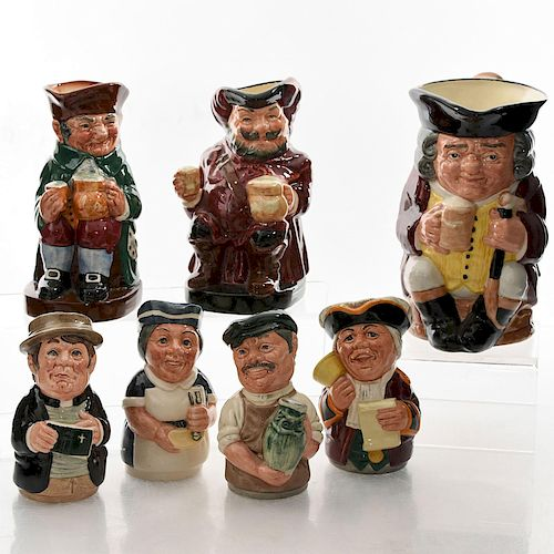 LG AND MD SIZED ROYAL DOULTON CHARACTER TOBY JUGS