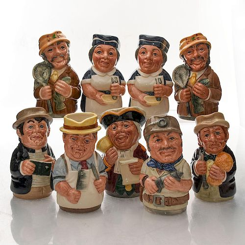 9 ROYAL DOULTON DOULTONVILLE SMALL CHARACTER TOBY JUGS