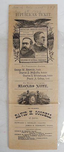Harrison & Morton 1888 Jugate Republican Ticket