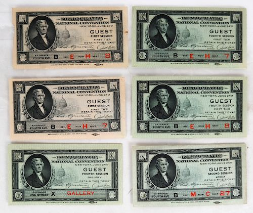 Six 1924 Democratic Convention Guest Tickets