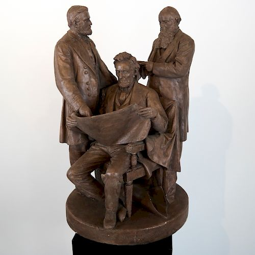"""John Rogers Group: Abe Lincoln """"Council of War"""""""