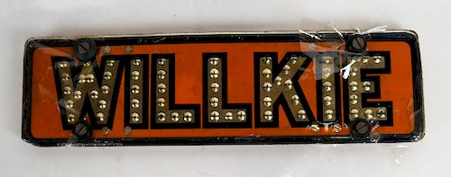 Willkie License Plate Tag