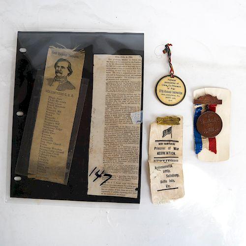 Civil War Prisoners of War Lot and CSA Ribbons